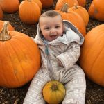 baby pumpkin picking